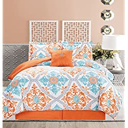 5 Piece Regal Orange/Blue/White Comforter Set Queen