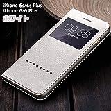 iPhone6s ケース 手帳型ケース 窓付きケース レザー革 iPhone6 ケース スマホケース iPhoneケース iPhoneカバー スマホカバー(iPhone6/6s用, ホワイト)