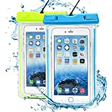 Waterproof Case,2 Pack Ace Teah Clear Universal Waterproof Case, Dry Bag, Pouch, Transparent Snowproof Dirtproof for iPhone 6, 6 Plus 5S 5C 4S, Samsung Galaxy S6 edge S5 S4, Note 4 3 2 - Blue, Green