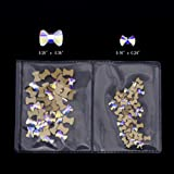 100pcs Crystal AB Bow Tie Flatback Crystals Mix Sizes Nail Art Decoration Stones Diamond Charms Supplies (50pcs each size)