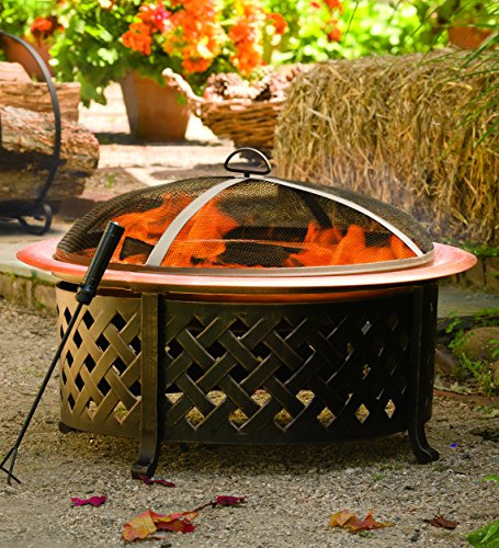 Plow-Hearth-Lattice-Side-Fire-Pit-With-Fire-Bowl-Copper-Finished-Steel-Bowl-and-Pained-Metal-Lattice-Frame-30-dia-x-21H