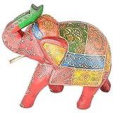 Rajgharana Handicrafts Multi Color Wooden Painted Elephant Statue - (23 Cm X 10 Cm X 22 Cm)