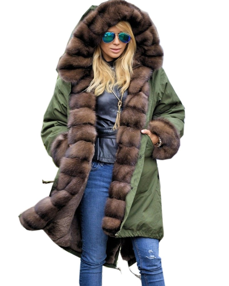 Roiii Ladies Quilted Casual Vintage Faux Fur Collar Warm Thick Womens Jacket Coat 0