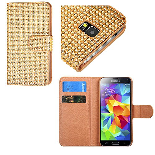 Mylife Glittering Light Gold Crystal - Glamorous Design - Koskin Faux Leather (Card, Cash And Id Holder + Magnetic Detachable Closing) Slim Wallet For New Galaxy S5 (5G) Smartphone By Samsung (External Rugged Synthetic Leather With Magnetic Clip + Interna front-107204
