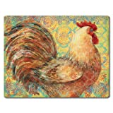 Highland Graphics Fancy Pants Rooster Tempered Glass Cutting Board, 10 by 8-inch