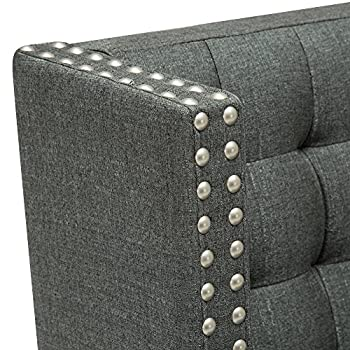Andeworld Modern Tufted Button Back Linen Like Dark Grey Upholstered Loveseat Settee with Silver Nail Accent Gray for Dining Room Hallway or Entryway Seating