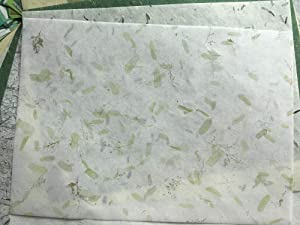 WADSUWAN SHOP 50 Sheets Mixed Green A4 Mulberry Paper Sheet Design Craft Hand Made Art Tissue Japan Origami Washi Wholesale Bulk Sale Unryu Suppliers Thailand Products Card Making