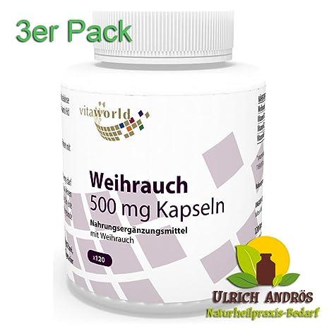 3er Pack Vita World Boswellia Weihrauch Extrakt 500mg 360 Vegi Kapseln Apotheken Herstellung + B Vitamine