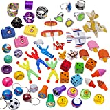 100 Pc Toy Assortment (Includes: Glider Airplanes, Dice Erasers, Mini Camera Viewers ,Sports and Globe Key Chains, Slap Bracelets, 3 Parachutes, Stampers, Yo Yos, Big Jewl Rings, and Other Small Toys for Party Favor Bags, Piñata, Carnival Prizes, or School Classroom Rewards)