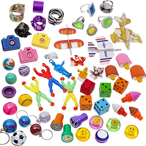 "Cheapest Price! 100 Pc Toy Assortment (Includes: Glider Airplanes, Dice Erasers, Mini Camera Viewers ,Sports and Globe Key Chains, Slap Bracelets, 3"" Parachutes, Stampers, Yo Yo's, Big Jewl Rings, and Other Small Toys for Party Favor Bags, Piñata, Carnival Prizes, or School Classroom Rewards)"