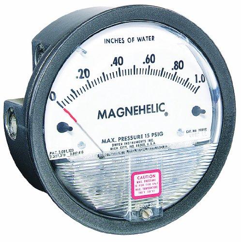 """Dwyer Magnehelic Series 2000 Differential Pressure Gauge, Range 0-10""""WC & 0-2.5 kPa"""