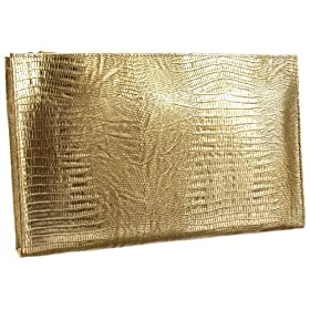 Kena Kai DataSafe Gold Lizard Print Italian Leather Clutch