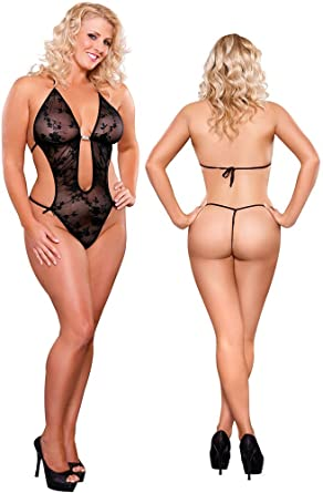 Plus Size Sexy Black See Thru Lace Teddy Lingerie - Queen Size