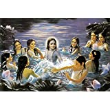 Tallenge - Krishna And The Gopis Sport In The Yamuna - A3 Size Rolled Poster