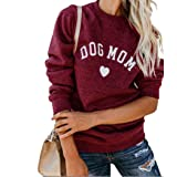 Heymiss Womens Tops Dog Mom Shirt Long Sleeve O Neck Letter Print Sweatshirts Red M (Color: Red-dog Mom, Tamaño: Medium)