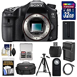 Sony Alpha A77 II Wi-Fi Digital SLR Camera Body with 32GB Card + Battery & Charger + Case + Tripod + Kit