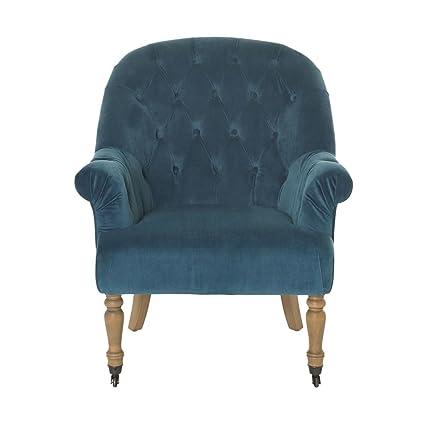 miaVILLA Sessel Georgina - Polsterstuhl mit Samtbezug - Chesterfield Look - Blau