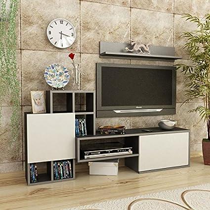 Rinaldo accesorios pared-Beige Marrón/Beige-TV LOWBOARD-TV BOARD-Mesa de Televisión en un diseño moderno.