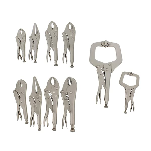 ABN Jaw Locking Pliers Set 10-Piece Pliers Wrench Hand Tools Locking Plier Set - Lock Pliers, C-Clamp, Wire Cutter