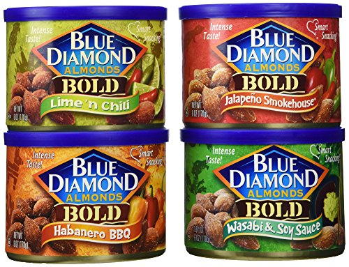 Blue Diamond Almonds BOLD Variety Pack of 4 x 6oz Cans Lime 'n Chili, Habanero BBQ, Jalapeno Smokehouse, Wasabi & Soy Sauce (Blue Diamond Almonds Chili Lime compare prices)