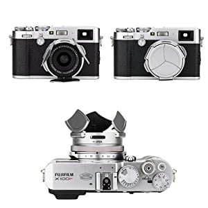 Auto Lens Cap Hood JJC Camera Automatic Lens Cap Cover Shade for Fujifilm Fuji X100F X100T X100S X100 X70 with 3 Auto Leaves -Silver (Color: Silver)