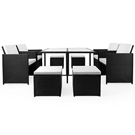 SSITG Polyrattan Garden Furniture Set of Dining Set Lounge Cube