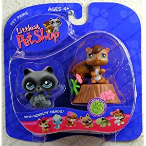 Littlest Pet Shop Pet Pairs - Chipmunk and Raccoon
