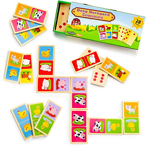 Busy-Barnyard-Wooden-Dominoes-Reversible-Classic-and-Matching-Games-28pcs-by-Imagination-Generation