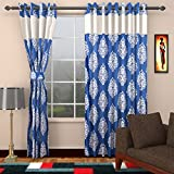 Ajay Furnishings 2 Piece Polyester Paisley Door Curtain - 7 ft, Blue