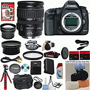 Canon EOS 5D Mark III 22.3 MP Full Frame CMOS Digital SLR Camera with Canon 28-135mm IS USM Lens Celltime Exclusive Bundle with Wide Angle Lens + Telephoto Lens + Professional Bendi Tripod + High Definition UV Filters + 24GB Memory + 14pc Accessory Kit by