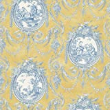 Waverly 5505960 Vignette Toile Wallpaper, Yellow, 20.5-Inch Wide