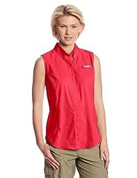 Columbia Women\'s Tamiami Sleeveless Shirt, Bright Rose, Large