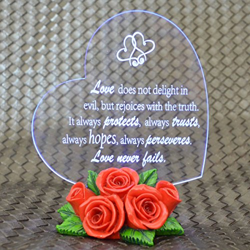 Giftgarden® LED Heart Shaped Ornament with Red Rose Base