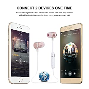 Proshine Bluetooth Headphones Wireless Earbuds Sweatproof Earphones Magnetic Attraction Stereo Earphones for Running Workout Gym Noise Cancelling (Ros