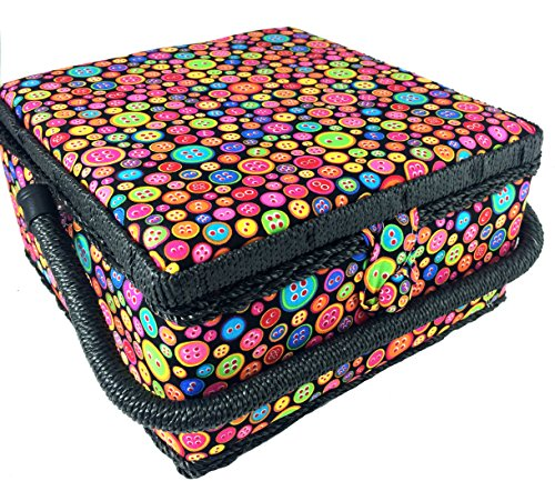Buy Cheap Colorful Button Print Sewing Basket 9.25x9.25x5 Inches