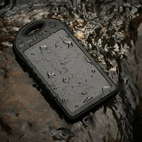 Solar Charger -Bon Venu 5 Solar Panel 12000mah Large capacity Newest Portable Backup Power Bank Pack Water/ Shock/ Dust Resistant Dual USB Charger 12000mah Solar Battery Panel Dual USB Port Rain-resistant, Dirtproof and Shockproof Portable Charger,Input 5V-1A,Cycle Times upto500,Output 5A-1V,Compatible Universal Backup External Battery Pack Power Bank for Iphone 6, 6 Plus, 5s, 5c, 4s, 4, Ipod Touch, Ipad Mini,ipad 1,2,3,4,5,6,ipad Air Retina (Apple Lightning Adapter Included), Samsung Galaxy Note 2, Note 3, S2 S3, S4, S5,nexus 4/5/7,moto X, Lg G2/3,sony Xperia Z1 Black, Nokia Lumia 1520, Nokia Lumia 1020 4g,note Pro, Amazon Kindle Fire HDX 7/8.9 Tablet, Google Nexus Tablet 7,blackberry Z10, Sony Xperia Z, Motorola Droid Maxx, HTC One Mini, Droid Dna,most Android/windows Smart Cell Phones, Gps, Tablets, and Other Usb-charged Devices,Outdoor products,Suitable for outdoor use,snowfield,rainy day,Sunlight can charge (Black)
