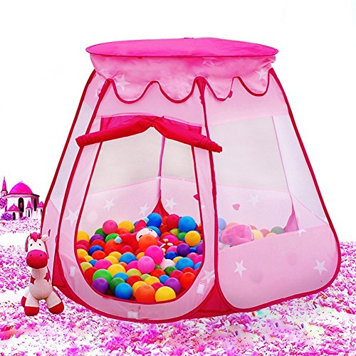 Prince Princess Tent Indoor and Outdoor 1 to 8 Years Old Children Game Play Toys Tent Balls, Easy Folding Ball Pit Play House Baby Beach Tent with Tote Bag , Ocean Ball Not Included. (Pink) (Old Baby Carriage compare prices)