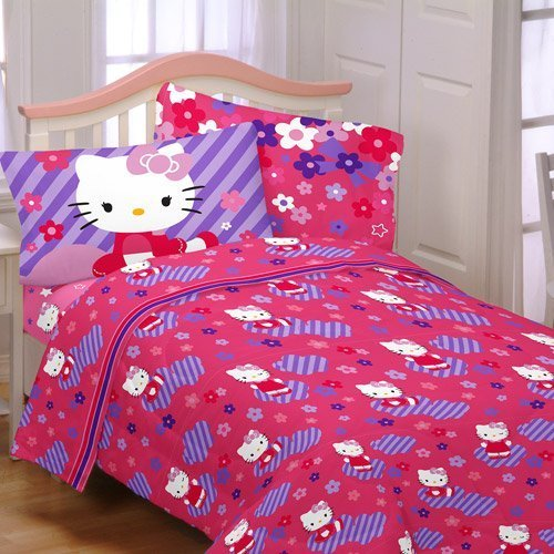 Hello Kitty Raining Flowers Full Sheet Set Bedding