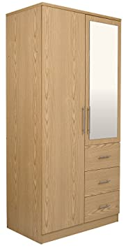 Haten Oak 2 Door Mirrored 3 Drawer Wardrobe