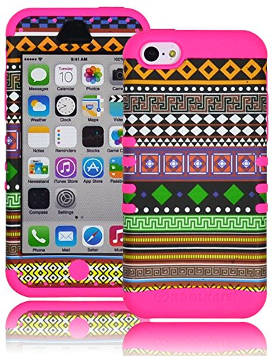 Bastex Heavy Duty Hybrid Case for Apple iPhone 5c - Pink Silicone with Multicolored Tribal Aztec Pattern Hard Kickstand Shell