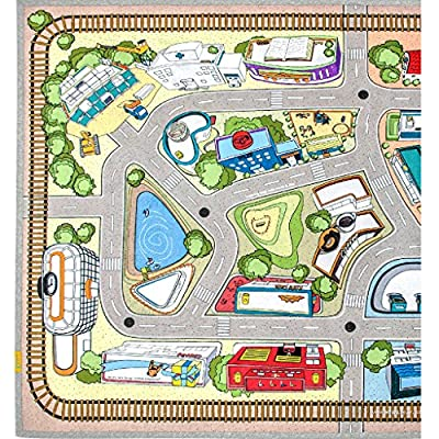 "[LEPAPA] 78.7"" x 55.1"" Baby Kids Toddler Le Bonheur Microfiber Car Village Lite Play Mat Carpet for Indoor and Outdoor Use, 3D Graphic, Interactive & Complex Play with Maps, Car & Trains, Road Trip"