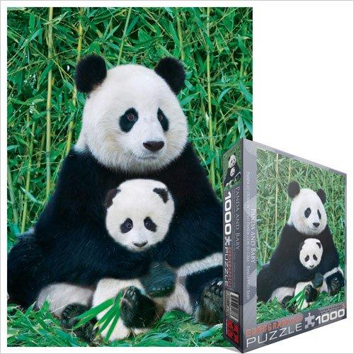 Cheap Fun EuroGraphics Panda And Baby 1000 Piece Jigsaw Puzzle (B004LTEEVC)