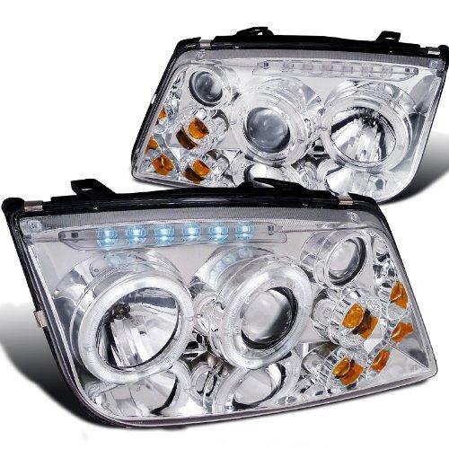 Volkswagen Jetta Chrome Clear Halo Led Projector Head Lights W/Fog