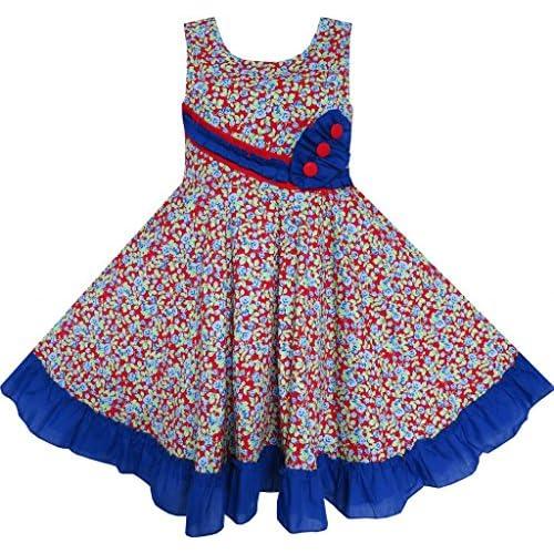 FD62 子供ドレス 女の子ドレス 子どもドレス フラワードレス のお嬢様ドレス 3 ボタン トリミング パーティー ダンス 125cm