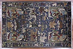 6x9 Village Pictoral Navy Blue Tribal Afghan Wool & Wool Hand Knotted Rug P1403
