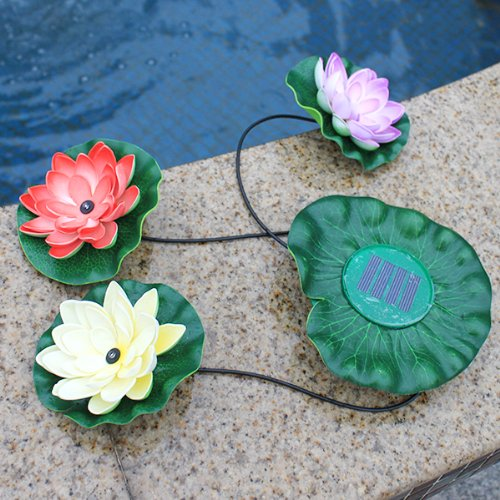 Image® Multi-Color Solar Power Floating Led Waterproof Lotus Flower Lamp Night Light With Solar Panel For Garden Pool Pond Landscape Christmas Valentine'S Day Decoration