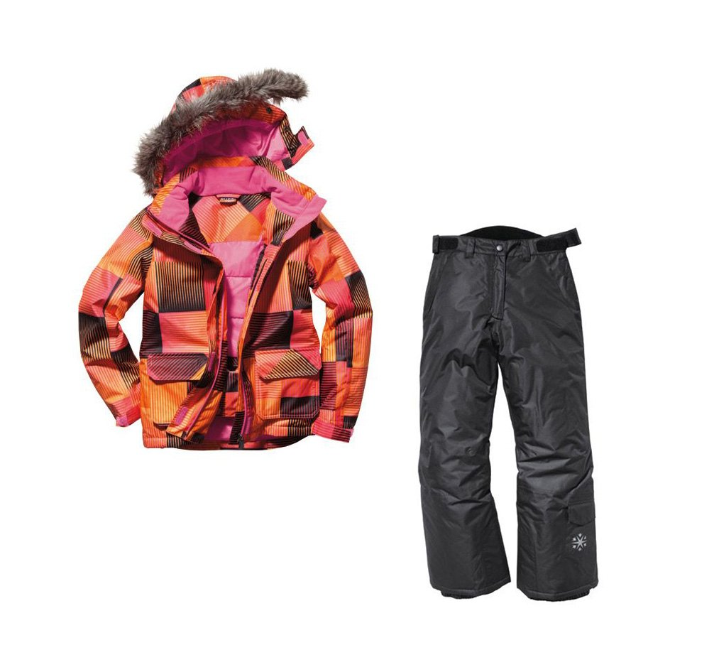 Mädchen Snowboardanzug Skianzug Größe: 134/140 Orange/Schwarz/Karriert Snowboardjacke & Snowboardhose Set Schneeanzug bestellen