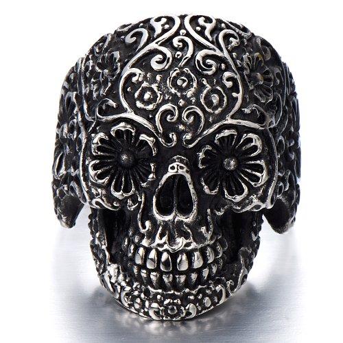 Steel Mens Gothic Biker Jewelry Sugar Skull Ring Oxidized Black