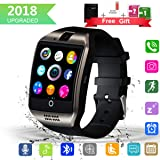 Bluetooth Smart Watch with Camera Touchscreen,Waterproof Smartwatch Unlocked Phone Watchs with SIM Card Slot, Smart Wrist Watch Compatible with Android iPhone X 8 7 6 5 Plus iOS Samsung for Men Women (Color: black, Tamaño: (2.4 x 1.6 x 0.5)inch smart watch)