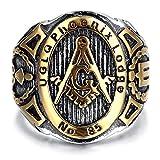 BOBIJOO Jewelry - Chevalière Bague Franc-Maçon UGLQ PHOENIX LOGDE 85 Maçonnerie Masonic Acier Inoxydable Master